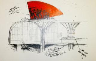 Sabine Hoffmann, LOUSISON und die Markfrauen von Paris, 1988. Lithographie und Collage auf handgeschöpftem Papier, 48 x 56 cm