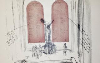 """Sabine Hoffmann, Zu Ehren von OLYMPE DE GOUGES Sind im Louvre bei der antiken Nike-Skulptur zwei Gesetzestafeln mit ihrer """"Erklärung der Rechte der Frau- und Bürgerin"""" installiert, Lithographie und Collage auf handgeschöpftem Papier, 56 x 48 cm, 1988"""