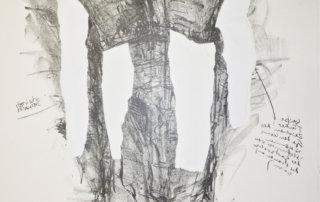 """Sabine Hoffmann, An MADAME ROLAND und weitere Guillotinierte erinnern in den römischen Thermen von Cluny weiße Kleider antiken Stils an die gepriesenen """"Römer-Tugenden"""" dieser Revolutionären Frauen, Lithographie und Collage auf handgeschöpftem Papier, 56 x 48 cm, 1988"""