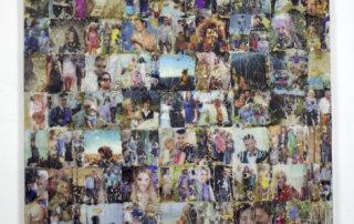 Schöne Menschen II. Abdruck von Zeitungspapier auf Leinwand, Heißkleber. 120 x 100 cm, 2016