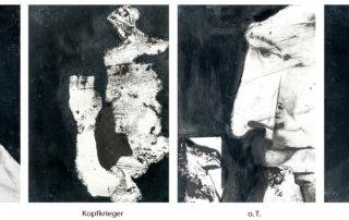 Serie ZwischenWelten, Mischtechnik- Collage auf Papier, jeweils 35 x 25, 2016/2017