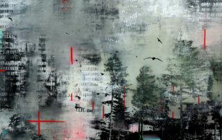 Durch die weiße Finsternis, Mischtechnik, Lw., 100 x 120 cm, 2015