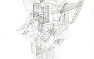 Geschichtete Texturen, 2018, Tinte auf Papier, 70 x 50 cm
