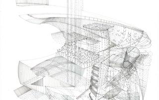Sprungturm, 2018, Tinte auf Papier, 70 x 50 cm