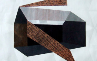 Hausflugen-Horizonterflieger, 2014, 45 x 55 cm, Collage, Öl, Packpapier