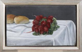 Gisela Breitling, Stilleben mit 2 Brötchen und Radieschen, 21,5 x 28 cm, Öl auf Sperrholz, 1999