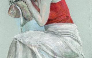 Gisela Breitling, Helen mit rotem Top, Pastellkreide auf Papier, 93 x 62 cm, 2010
