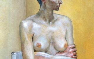 Gisela Breitling, Warten, Öl auf Leinwand, 50 x 40 cm, 1998