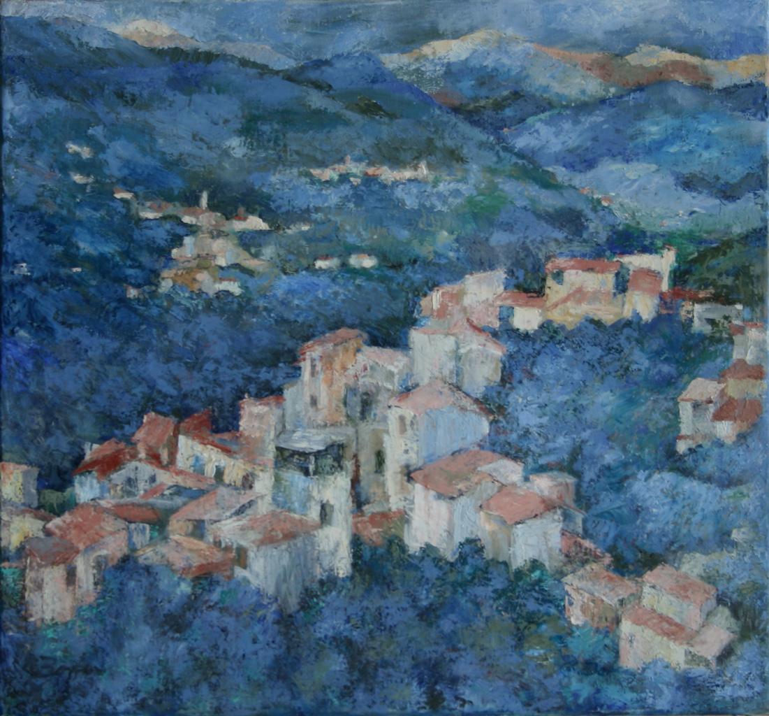 Isolalunga in Ligurien, Öl auf Leinwand, 70 x 75 cm, 1996