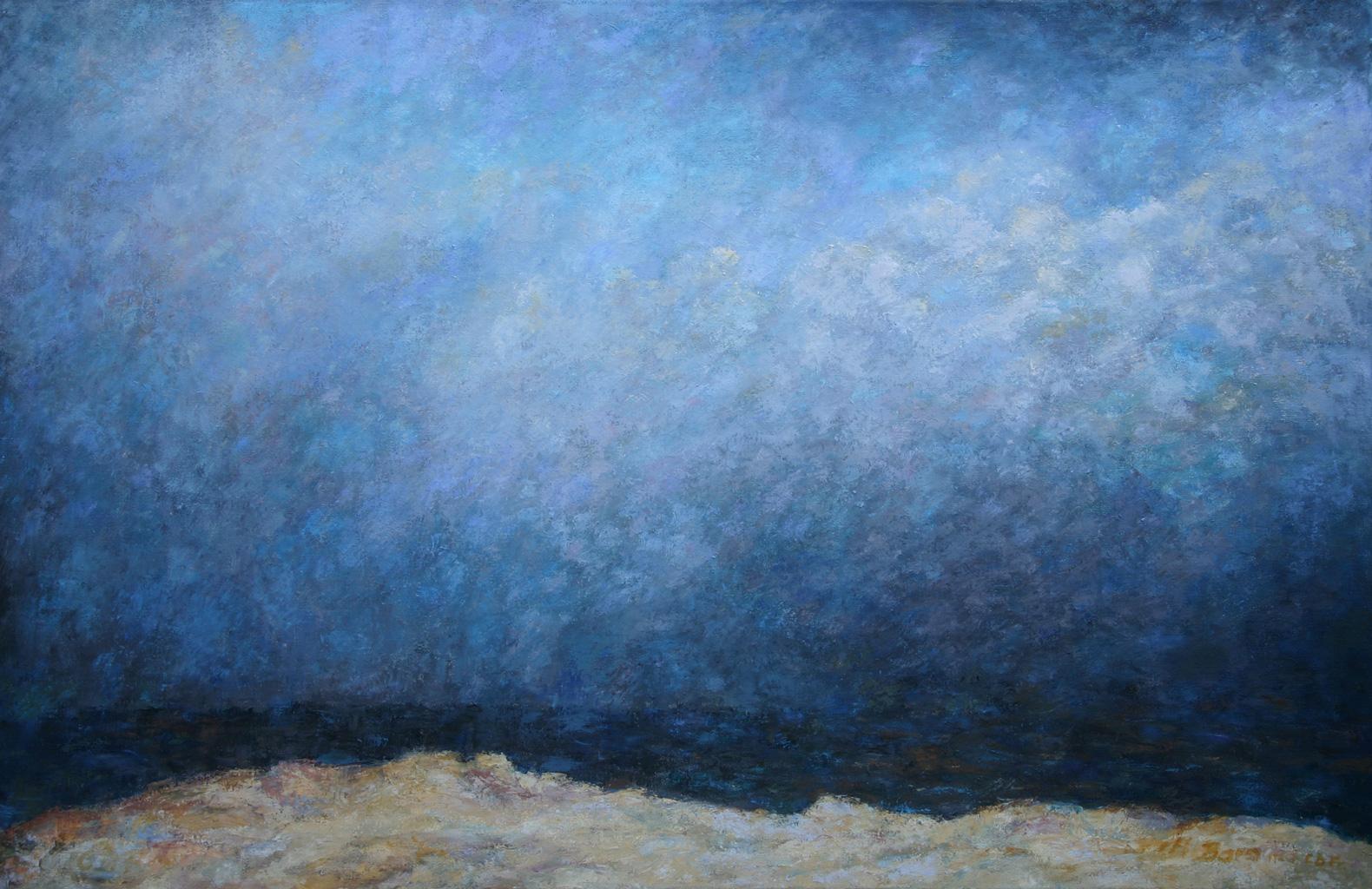 Mönch am Meer, Öl auf Leinwand, 90 x 140 cm, 1992