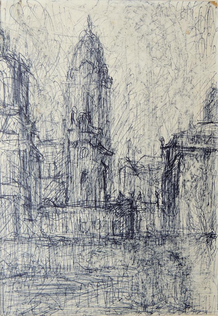 Dresden-Brühlsche Terrasse und Ruine der Frauenkirche vor dem Rathaus, Kugelschreiber/Papier, 21 x 14 cm, 1970