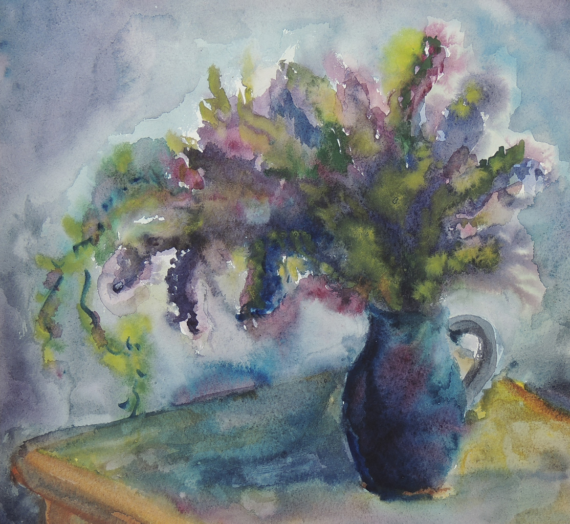 Sommerblumen, Aquarell, 34 x 36,5 cm, 1976