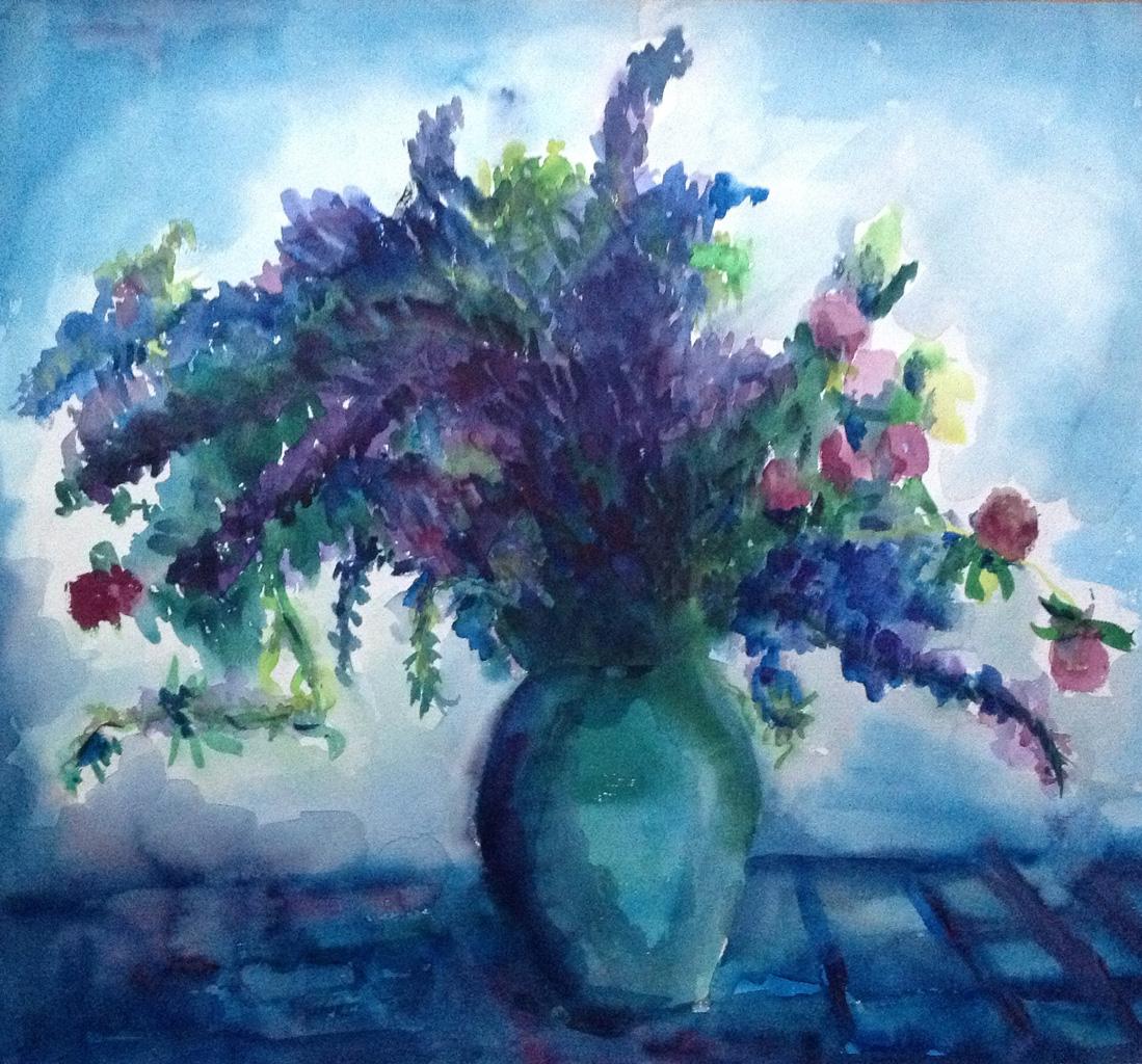 Blaue Blumen in blauer Vase, Aquarell, 52 x 51 cm, k.J.