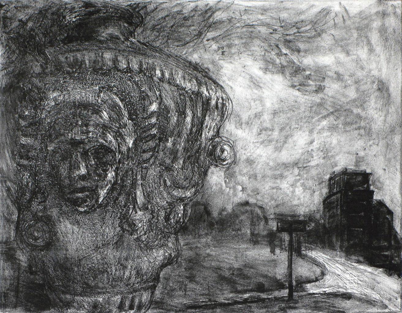 Gabi Keil, Am Albertplatz, Lithographie, 2016