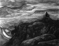 Gabi Keil, Refugium, 2018, Kohle auf Papier, 70 x 90 cm