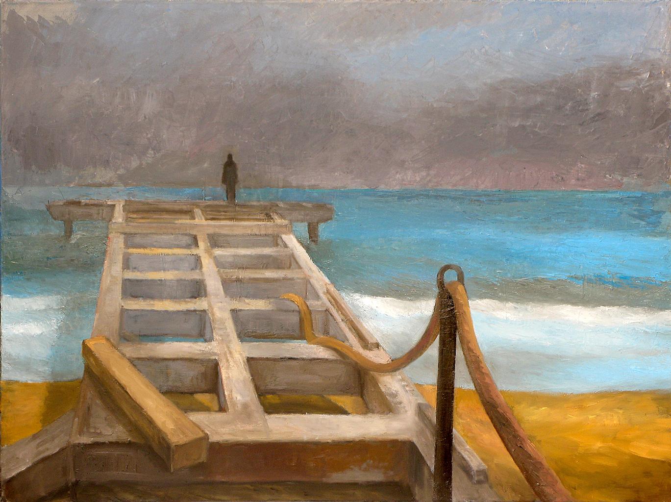 Gabi Keil, Warten I (Lido), Öl auf LW, 60 x 80 cm, 2013