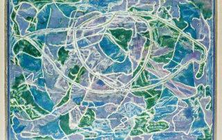 Auf dünnem Eis, Mischtechnik auf Karton, 45 x 63 cm, 2018