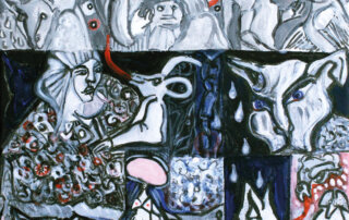 Marianne Schöder, Feurige Zungen I, Acryl, Tusche auf Leinwand, 30 x 30 cm, 2019