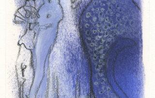Marianne Schröder, Paradies der Tiere, Tusche, Lithokreide, Stifte und Acryl, 17 x 12 cm, 2019