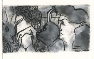 Marianne Schröder, zwei Welten, Acryl und Tusche, 11,5 x 21 cm, 2019