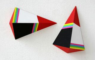 Petra Tödter, Sehzeichen, Sperrholz, Acryllack, Pigment, insgesamt 20,5 x 32,5 x 7,5 cm, 2016