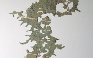 Anett Lau, ANALOG I, vorgefundenes Matrial, colagierter Scherenschnitt, 30 x 42 cm, 2013