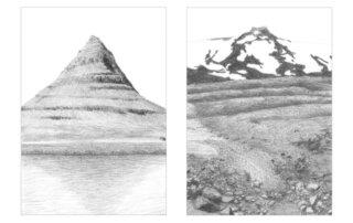 Christiane Gerda Schmidt, Erhebungen 04 und 06 (Serie), Bleistift, Graphit auf Papier, Auflage 5, je 10 x 7 cm, seit 2014