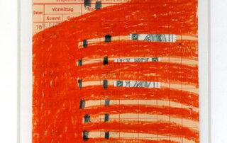 Stephanie Krumbholz, Wellen, Mischtechnik auf Karteikarte, 18 x 10,5 cm, 2019