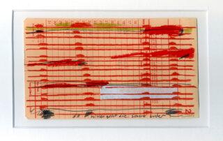 Stephanie Krumbholz, Da hinten geht die Sonne unter, Mischtechnik auf Karteikarte, 10,5 x 18 cm, 2019
