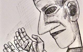 Zeichnung aus der Kopf-Hand-Folge, 1986. Feder, Tinte auf Papier, 32 x 34 cm